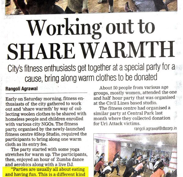 Fitness party Organized by VamaIndia and 8 Step Fitness Studio covered by DNA Jaipur-A Daily paper