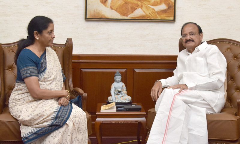The Union Minister for Defence, Smt. Nirmala Sitharaman calling on the Vice President, Shri M. Venkaiah Naidu