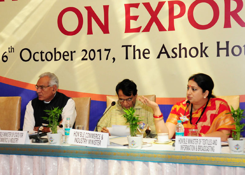 Union Minister for Textiles and Information & Broadcasting, Smt. Smriti Irani addressing at a stakeholders' consultation, organized by the FIEO,