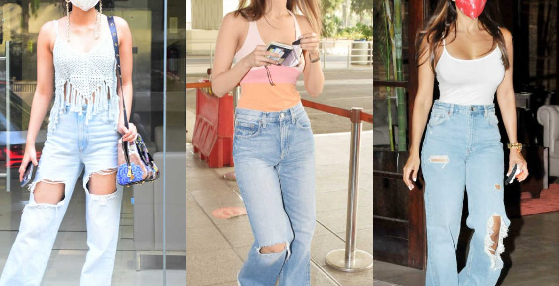 Trending: Tank tops with loose, distressed jeans